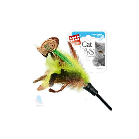 GiGwi Рыбка Игрушка-дразнилка для кошек, с перьями фото