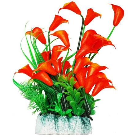 УЮТ Растение аквариумное оранжевые цветы, 24 см