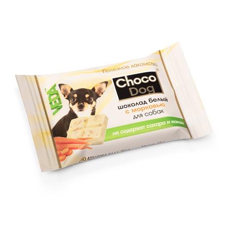 CHOCO DOG Шоколад белый с морковью для собак, 15 гр фото