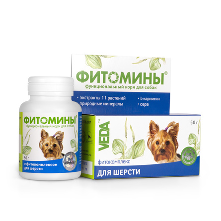 Купить VEDA Фитомины Кормовая добавка для взрослых собак для шерсти (с фитокомплексом), 50 гр