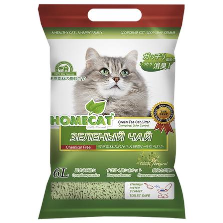 Купить Homecat Эколайн Зеленый чай Комкующийся наполнитель для кошек (с ароматом зеленого чая), 6 л
