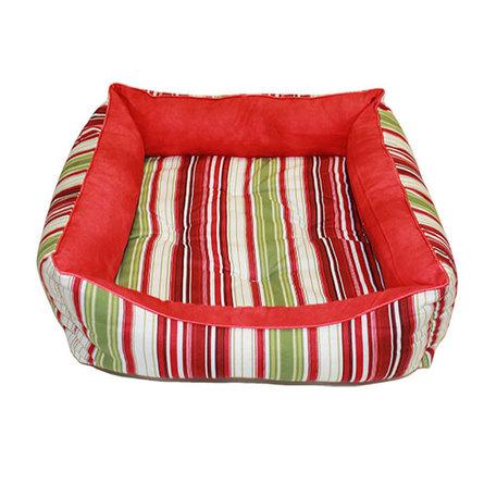 Купить CLP Красная полоска Квадратная лежанка для собак и кошек, бязь