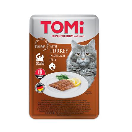 Купить Tomi Кусочки паштета в желе для кошек и котят (с индейкой и шпинатом), 100 гр