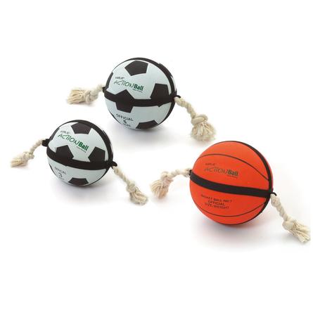 Karlie Action Ball Игрушка для собак, футбольный мяч с верёвкой