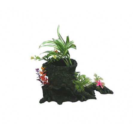 N1 Грот Коряга с растениями, 21,5х14х20 см