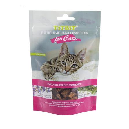 TiTBiT Кусочки вяленых субпродуктов для взрослых кошек (из легкого говяжьего), 40 гр фото