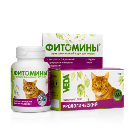Купить VEDA Фитомины Кормовая добавка для кошек для профилактики мочекаменной болезни, 50 гр