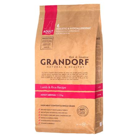 Купить Grandorf Lamb & Rice Adult Medium Сухой корм для взрослых собак средних пород (с ягненком и рисом), 3 кг