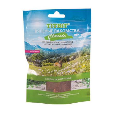 Купить TiTBiT Вяленые лакомства Classic Слайсы деликатесные для взрослых собак мелких и средних пород (из говядины), 50 гр