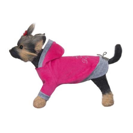 Купить DogModa Курта велюровая Хоум для собак, длина спины 24 см, обхват шеи 25 см, обхват груди 39 см, розовая