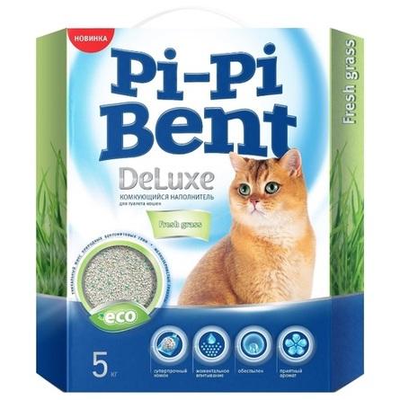 Купить Pi-Pi Bent DeLuxe Fresh Grass Наполнитель глиняный комкующийся (с ароматом свежей травы), 5 кг