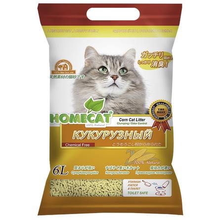 Купить Homecat Эколайн Кукурузный Комкующийся наполнитель для кошек, 6 л