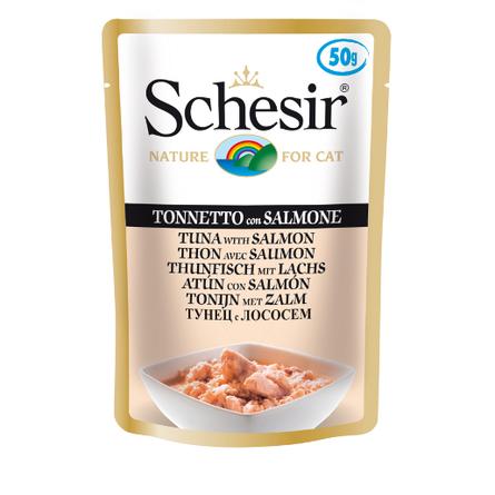 Schesir Кусочки филе для взрослых кошек (с тунцом и лососем), 50 гр