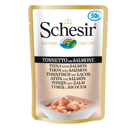 Schesir консервы для кошек Тунец с Лососем, 50 гр
