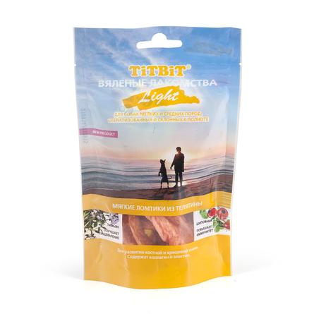 Купить TiTBiT Вяленые лакомства Light Мягкие ломтики из телятины для взрослых собак мелких и средних пород, 40 гр