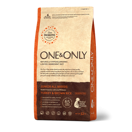 One&Only Turkey & Rice JUNIOR All Breeds сухой корм для молодых собак всех пород (индейка с рисом), 12 кг фото