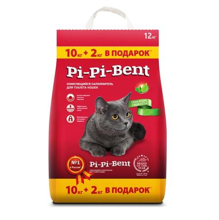 Увеличенная упаковка Pi-Pi Bent комкующийся глиняный наполнитель Сенсация свежести 10+2 кг, 12 кг