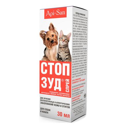 Api-San Стоп-Зуд Cпрей для собак и кошек для лечения дерматитов, 30 мл