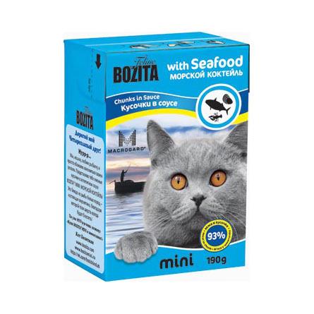 Bozita Mini Кусочки паштета в соусе для взрослых кошек (морской коктейль), 190 гр фото