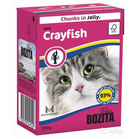 Bozita Кусочки паштета в желе для взрослых кошек (с лангустом), 370 гр фото