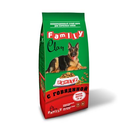 Clan Family Сухой корм для взрослых собак всех пород (с говядиной), 15 кг фото