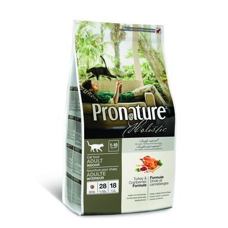 Pronature Holistic Adult Indoor Сухой корм для взрослых домашних кошек (с индейкой и клюквой), 340 гр