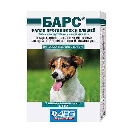Купить АВЗ Барс Капли от блох и клещей для собак от 2 до 10 кг, 1 пипетка, 1, 4 мл