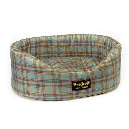 Купить Pride Комфорт Браун Лежак для собак и кошек, зелёный в клетку
