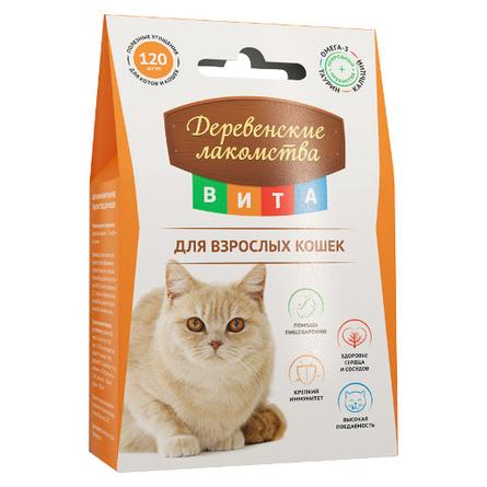Деревенские лакомства Вита Витаминизированное лакомство для взрослых кошек для поддержания иммунитета, 60 гр фото