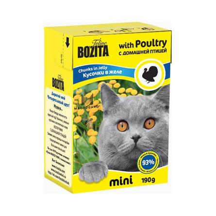 Bozita Mini Кусочки паштета в желе для взрослых кошек (с домашней птицей), 190 гр фото