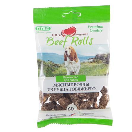 TiTBiT Beef Rolls Роллы мясные для взрослых собак всех пород (из рубца говяжьего), 60 гр фото