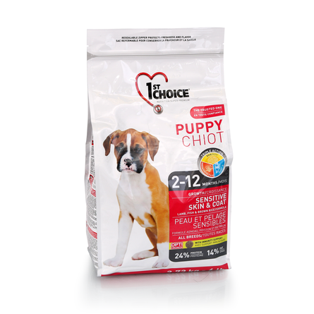 1st Choice Puppy All Breeds Sensitive Skin&Coat Сухой корм для щенков всех пород с чувствительной кожей и шерстью (с ягненком, рыбой и рисом), 2,72 кг фото