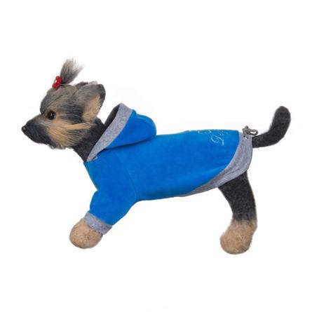 Купить DogModa Курта велюровая Хоум для собак, длина спины 28 см, обхват шеи 29 см, обхват груди 45 см, голубая