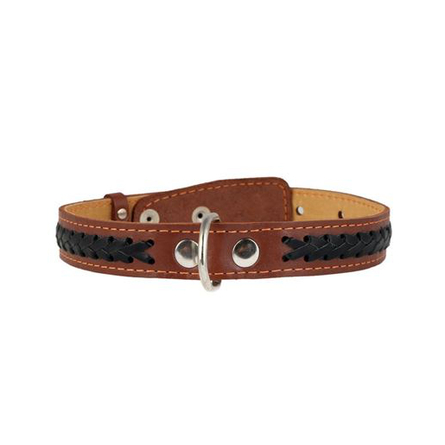 Купить Collar Ошейник для собак двойной, с вплетенной косой, ширина 2, 5 см, длина 38-50 см, коричневый
