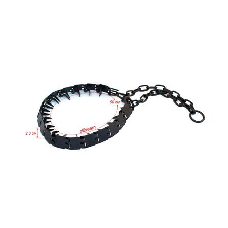 Darell Ошейник для собак строгий пластинчатый вороненый, толщина 1,5 мм, ширина 2,3 см, длина 50 см фото