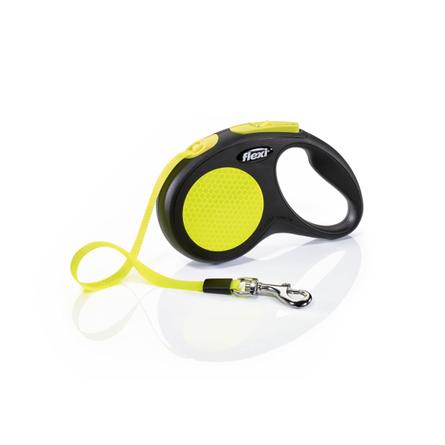 Flexi New Neon S Поводок-рулетка для собак, черный/неон, ремень