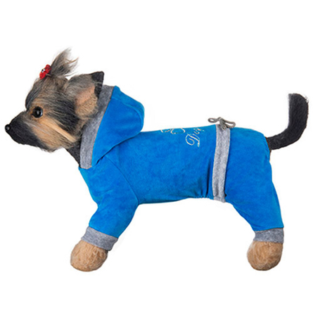 Купить DogModa Комбинезон велюровый Хоум для собак, длина спины 28 см, обхват шеи 29 см, обхват груди 45 см, голубой