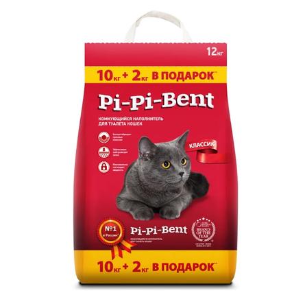 Увеличенная упаковка Pi-Pi Bent комкующийся глиняный наполнитель 10+2 кг, 12 кг