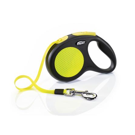 Flexi New Neon M Поводок-рулетка для собак, черный/неон, ремень