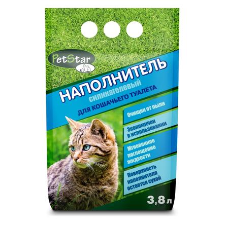 Pet Star Наполнитель для туалета кошек впитывающий, силикагелевый, 3,8 л