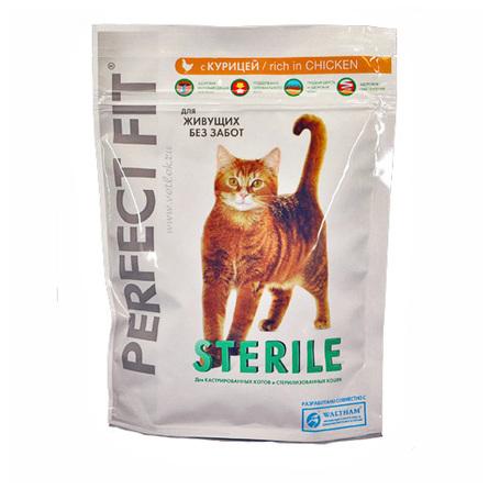 Perfect Fit Sterile Сухой корм для взрослых стерилизованных кошек и кастрированных котов (с курицей), 650 гр фото