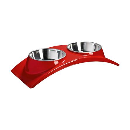 SuperDesign Элеганс Миска для животных двойная на меламиновой подставке, красная, металл