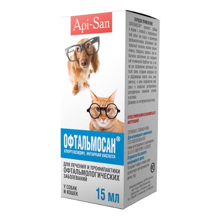 Api-San Офтальмосан Капли для глаз для собак и кошек, 15 мл