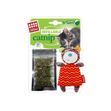 GiGwi Мишка с кармашком Игрушка для кошек, с кошачьей мятой фото