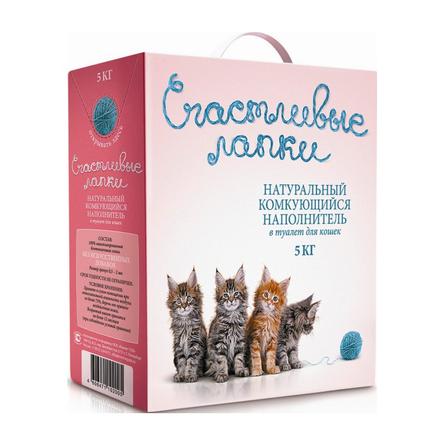 Счастливые Лапки Комкующийся глиняный наполнитель для кошек, 5 кг
