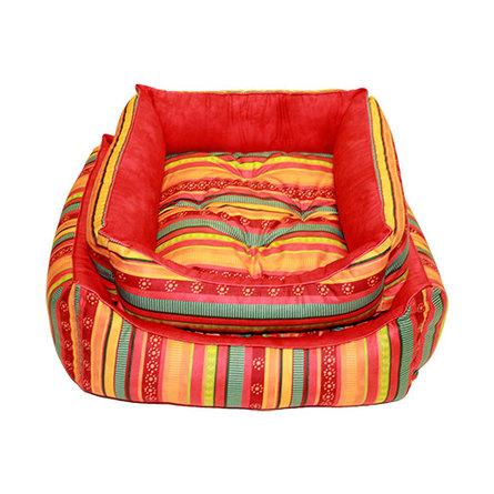 Купить CLP Разноцветная полоска Квадратная лежанка для собак и кошек, бязь