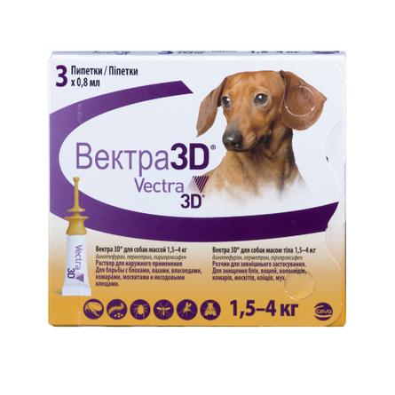 Купить Ceva Вектра 3D инсектицидные капли для собак 1, 5-4 кг, 1 пипетка 0, 8 мл
