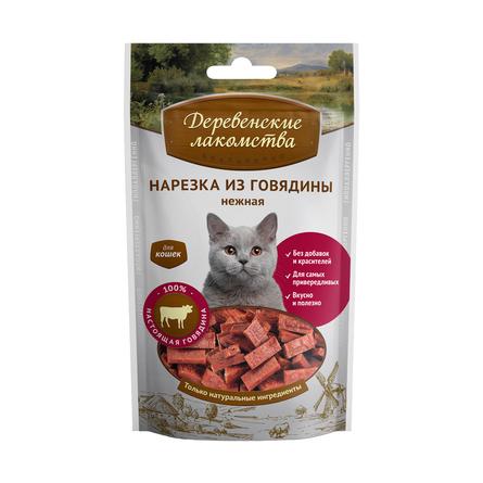 Купить Деревенские Лакомства Кусочки вяленого мяса для взрослых кошек (с говядиной), 50 гр