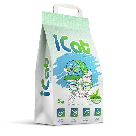 ICat комкующийся бентонитовый наполнитель (с ароматом зеленого сада), 5 кг фото