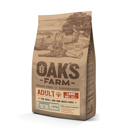 Oaks Farm Grain Free Adult Small and Mini Breeds беззерновой сухой корм для взрослых собак малых и мини пород (ягненок), 18 кг